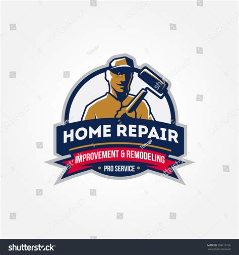 handyman home repair corporate service badge stock vector