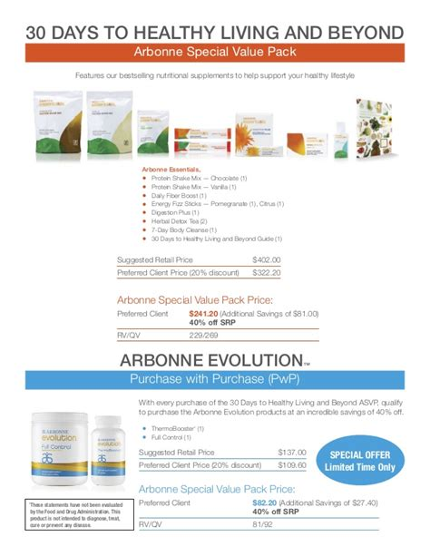 30 Days To Healthy Living Detox by Asvp Arbonne Special Value Packs