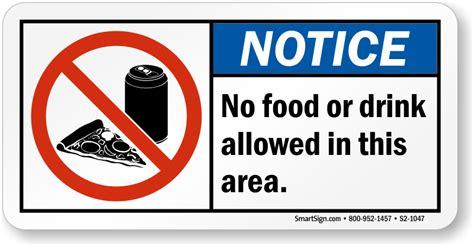 no food drink allowed area sign sku s2 1047