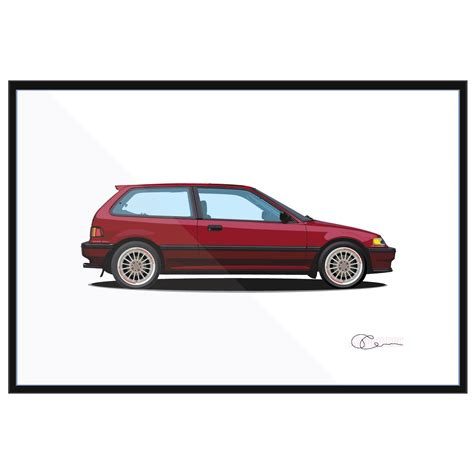 91 honda civic si 1989 honda civic si print j7artwork
