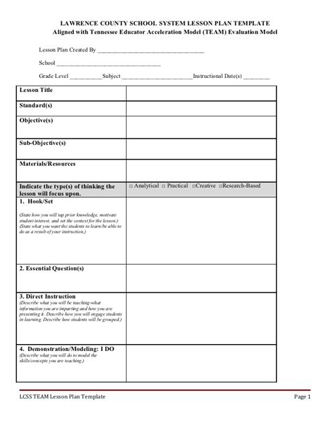 lawrence county school system lesson plan template sle