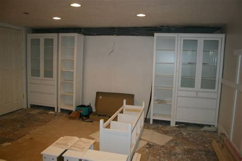 ikea media center ikea axel cabinets basement wall of built ins out of ikea hemnes cabinets hometalk