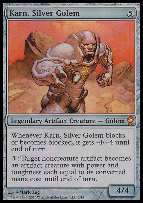 arena of the planeswalkers colorless card template karn silver golem artifact cards mtg salvation