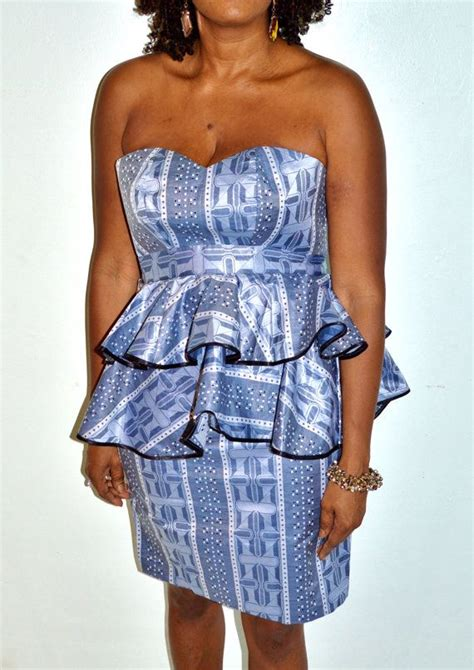 Peplum Blue Tribal Set 3in1 dress ankara dress blue and silver strapless