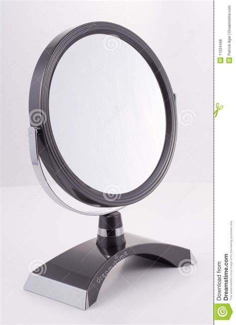 Silver Bathroom Mirror Chrome Round Mirror With Stand Stock Photo Image 11034498