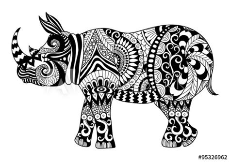 drawing zentangle rhino  coloring page shirt design