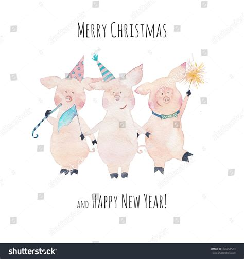 new year animal pig merry happy new year card stock illustration