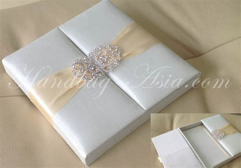 Wedding Box Design Embellished Ivory Silk Wedding Box For Invitation Cards