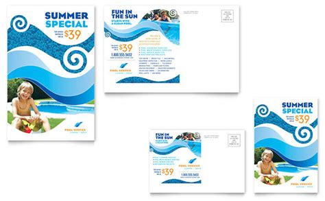 swimming pool templates swimming pool cleaning service postcard template design