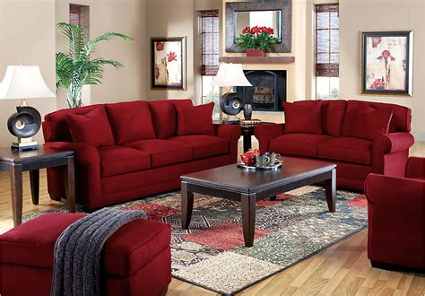 red living room set modern house