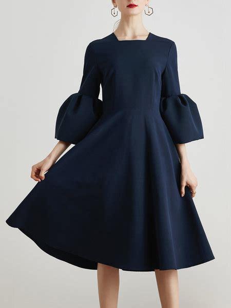 Usquare Dress stylewe plus size square neck midi dress a line dress bell