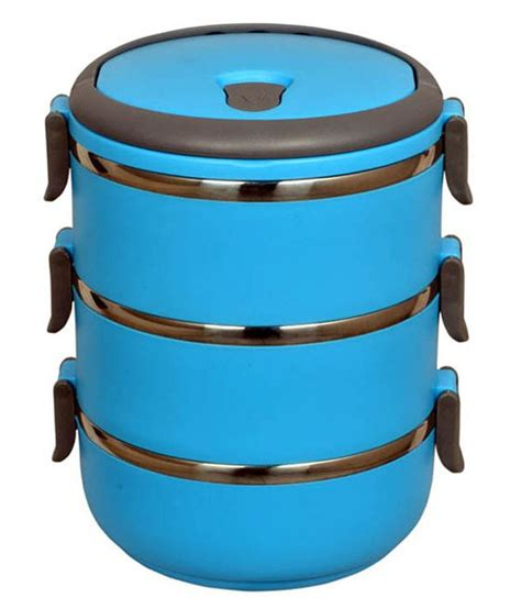 Lunch Box Three Layer hengli 3 layered steel lunch box buy at best price in india snapdeal