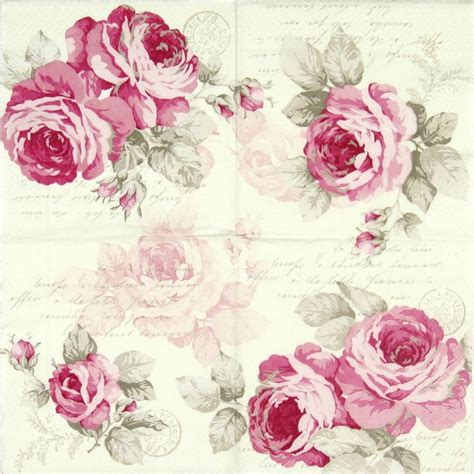 Decoupage Roses - details about 4x single lunch paper napkins for
