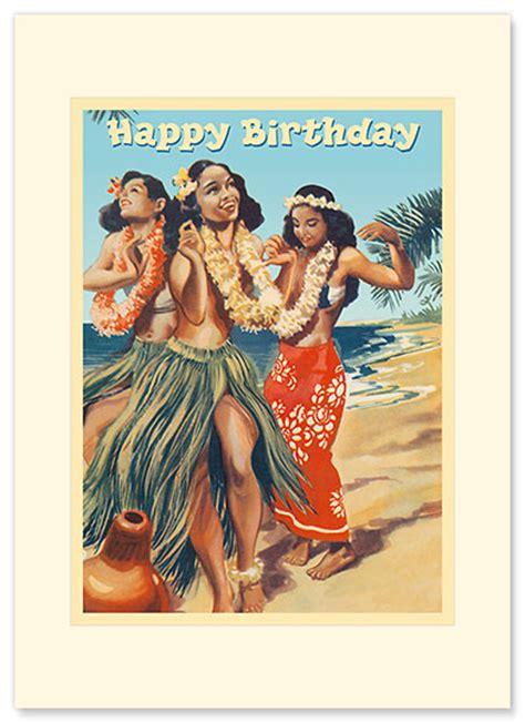 hawaiian premium vintage collectible greeting card happy birthday card hawaii hula dancers