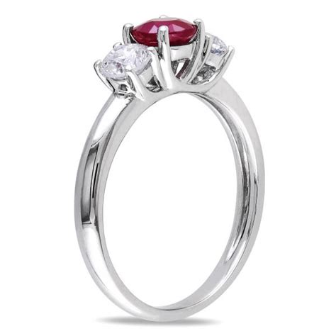 Ruby 9 10ct ruby three engagement ring 14k white gold