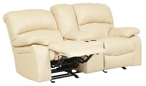 glider recliner loveseat damacio cream glider reclining loveseat with console