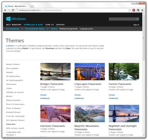 microsoft themes gallery windows 8 desktop theme sources