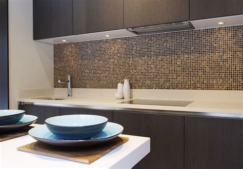 Glass Tile Backsplash Kitchen by Luxury Kitchen Featuring Emperador Marble Mosaic Splash