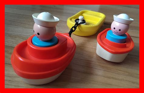 fisher price bath toy boat vintage 1978 fisher price tug boat barge bath toys extra