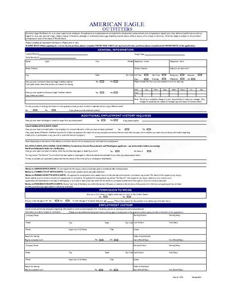 printable job application american eagle 7 best images of personal job application log printable
