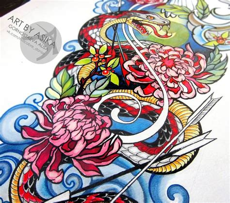 neo traditional tattoo design colorful neo traditional snake with flowers design