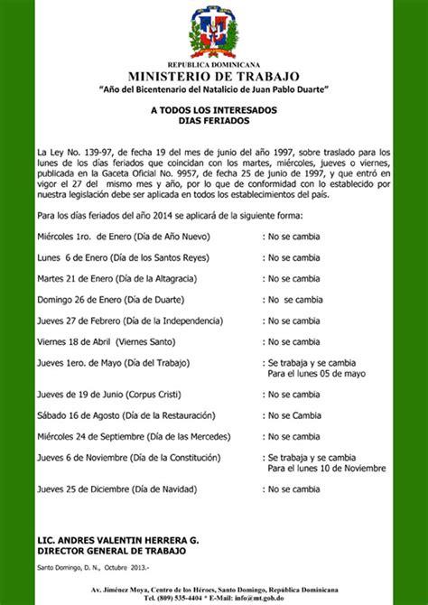 Calendario Republica Dominicana 2018 Das Feriados 2014 En Repblica Dominicana Calendario