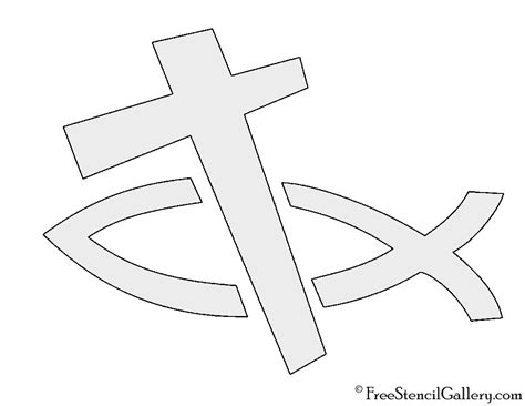 printable religious stencils christian fish and cross stencil free stencil gallery