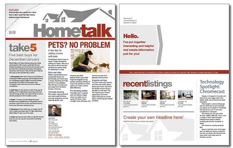 Hometalk Newsletter Template Volume 2 Issue 11 Real Estate Newsletter Templates Free