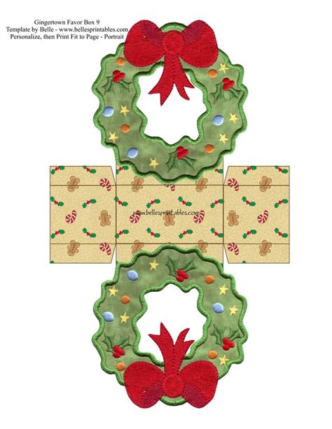 printable christmas wreath pictures free gingertown favor boxes wreath box kutular