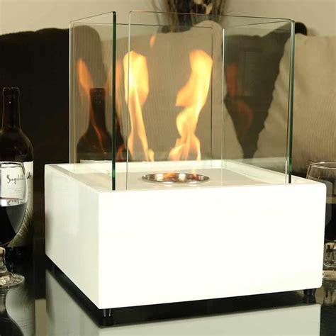 Large Bioethanol Fireplace by Sunnydaze White Large Cubic Ventless Tabletop Bio Ethanol