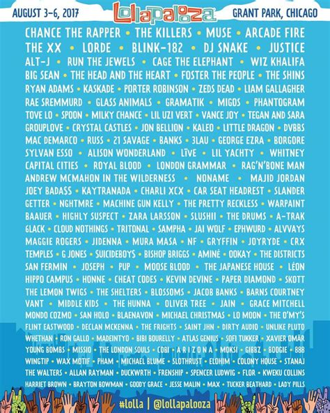 lollapalooza 2017 to feature chance the rapper lorde arcade everfest