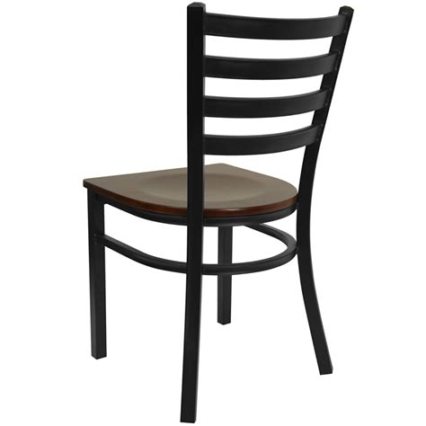 Black Ladder Back Dining Chairs Hercules Series Black Ladder Back Metal Restaurant Chair Mahogany Wood Seat