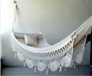 This luxurious looking hammock with crochet detail was featured over