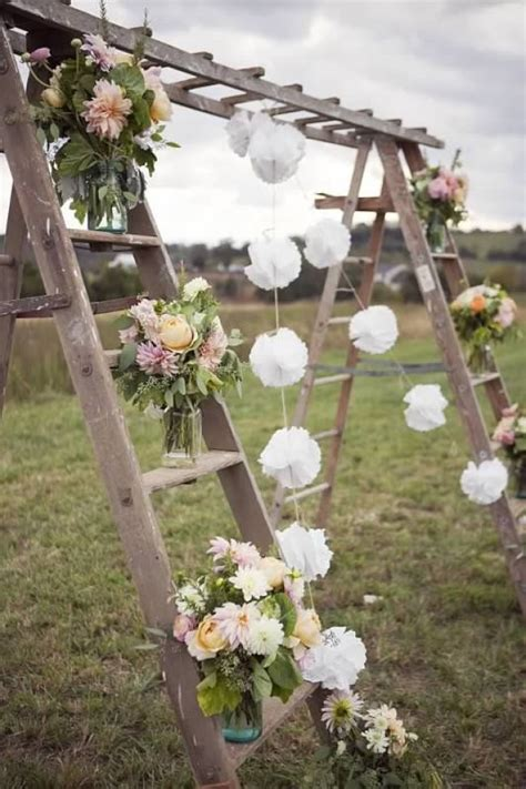 Rustic Garden Wedding Ideas How To Decorate Your Vintage Wedding With Seemly Useless Ladders Tulle Chantilly Wedding