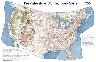usa map states roads the pre interstate u s highway system circa 1955 5000 x