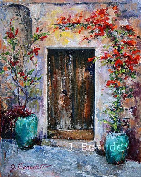 original painting paletteknife italy door by