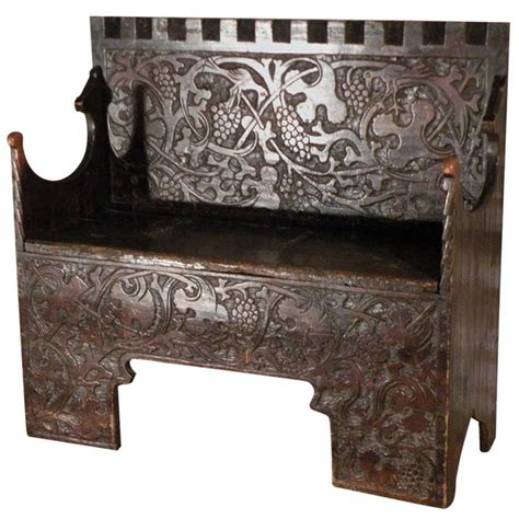 medieval bench very rare swiss or german late gothic early 16th century