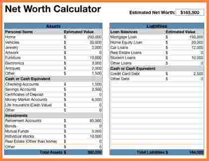net worth calculator excel templates