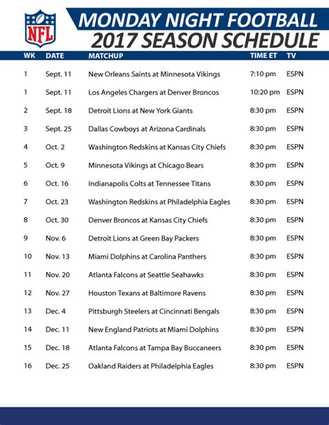 2017 nfl schedule release monday night football live stream online free game
