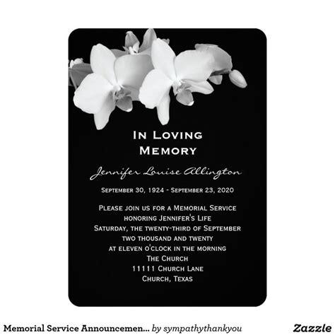 Memorial Service Announcement Cards Template by Memorial Service Announcement Orchids 7 Memorial