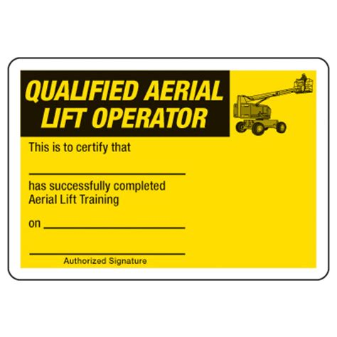 Scissor Lift Certification Card Template by Certification Photo Wallet Cards Qualified Aerial Lift