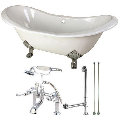 cast iron bathtub faucets aqua eden double slipper 6 ft cast iron clawfoot bathtub