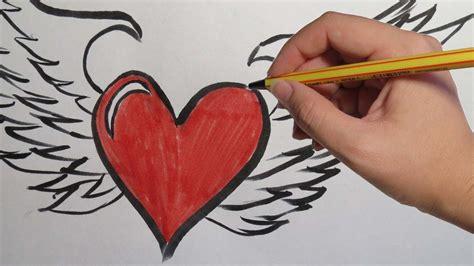 imagenes de corazones con fuego dibujos de corazones con alas a lapiz www pixshark com