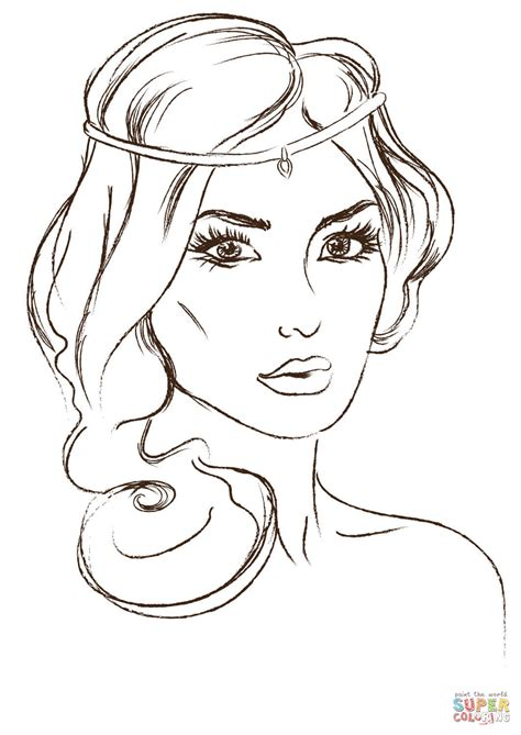 princess head coloring page jasmine head view coloring sheets and pages for kids