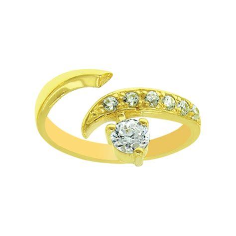 solid adjustable diamonique cz toe ring real solid 14k