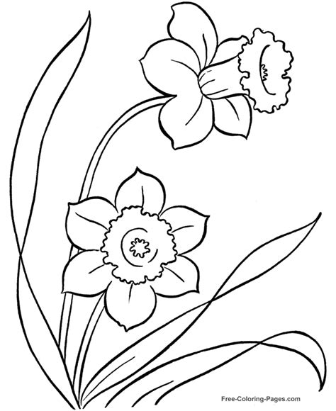 Free Coloring Pages Of Simple Flowers To Draw Flower Coloring Pages Free