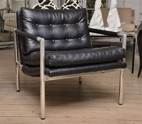 ostrich leather couch pair of harvey probber black ostrich leather chairs at 1stdibs