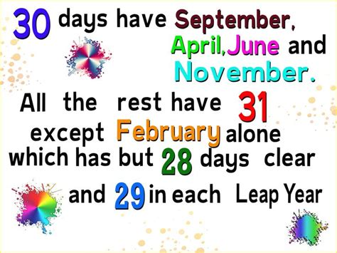 Calendar How Many Days In Each Month 30 Days Hath September Printable Poem Search