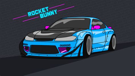 Nissan Silvia S15 Wallpaper 4k Rocket Bunny Neon By