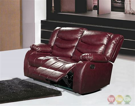 Burgundy Leather Reclining Sofa 644burg Burgundy Leather Reclining Loveseat With Pillow Arms